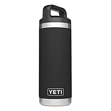 YETI Rambler 18oz Vacuum Insulated Stainless Steel Bottle with Cap, Black DuraCoat