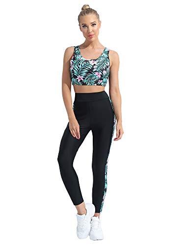 Mufeng Tute da Ginnastica Donna Completo Sportiva Completa Vita Alta Elastica Completi Sportivi Donna Fitness Palestra Yoga Canotta Corta + Pantaloni Dancewear Rosa XL