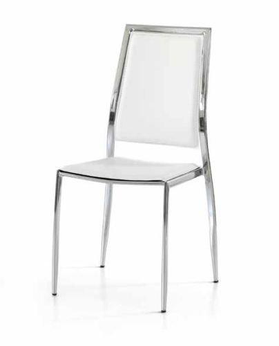 Legno&Design Lot de 2 chaises modernes en acier chromé pour cuisine, séjour, restaurant, tapissé en cuir synthétique