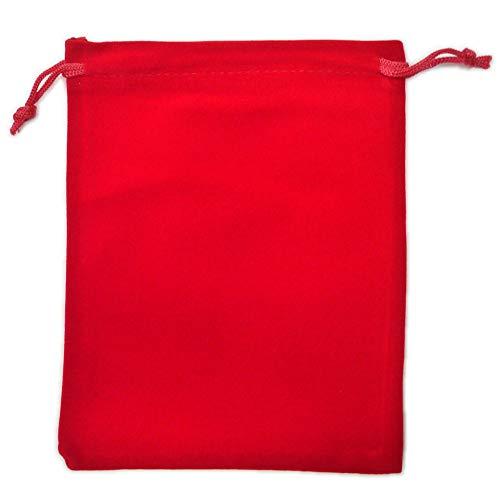 カラーポーチ 巾着袋 12×15cm 小物入れ ケース ソフトタイプ ベルベット スエード調 メガネポーチ サングラス 眼鏡 スマホ入れ スマートフォン アクセサリー用 (レッド)