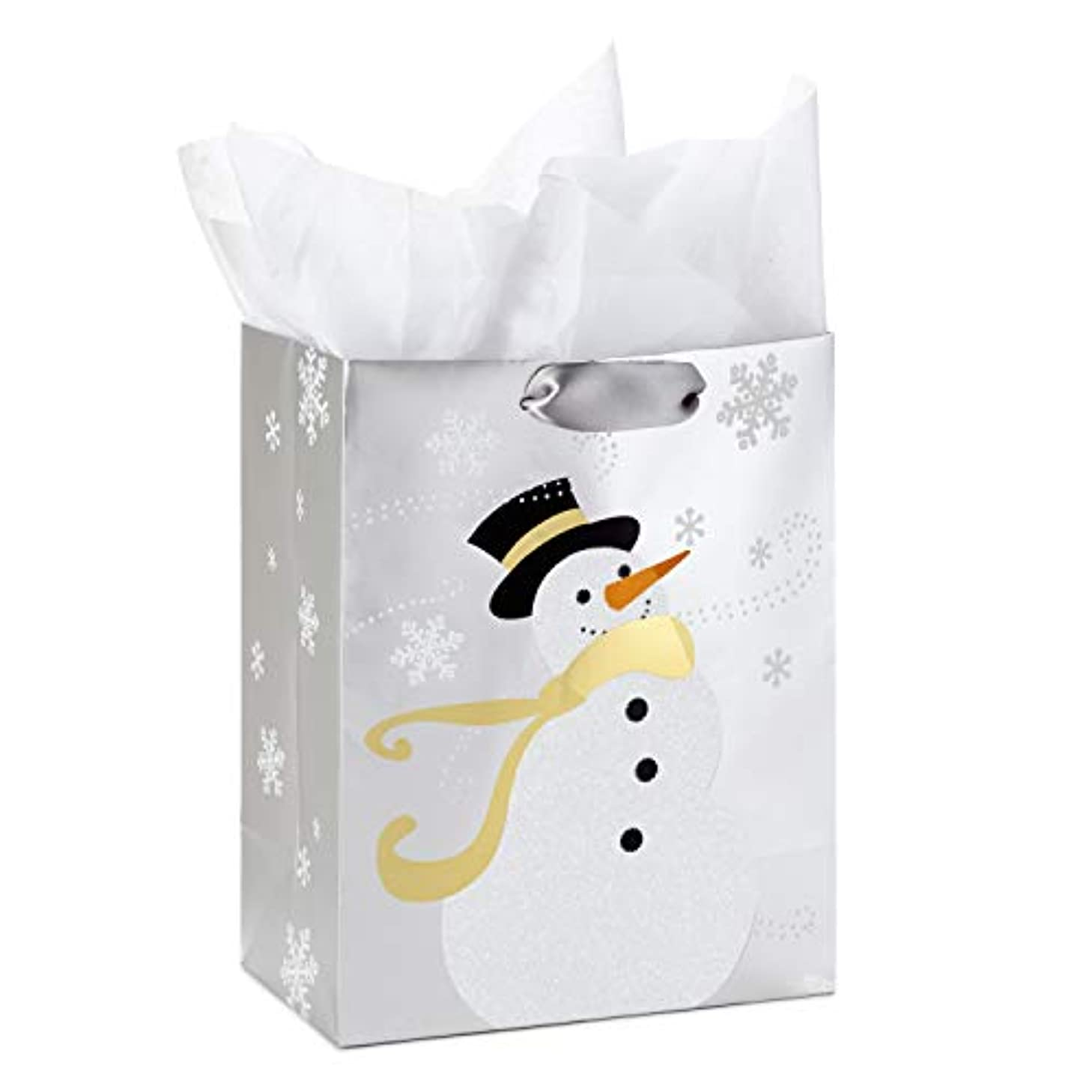 Hallmark Medium Holiday Gift Bag with Tissue Paper (Snowman on Silver)