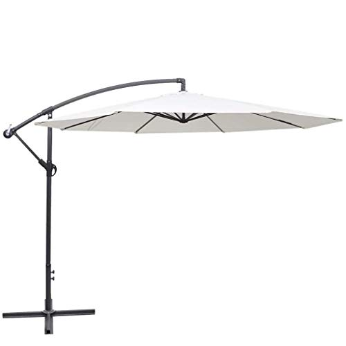 XBSXP Sun Protection Umbrella, Windproof And Waterproof 3.5m Sand White Outdoor Protection Cantilever Hanging Sun Umbrella, Suitable For Garden Balcony Terrace 8.20, Sand White