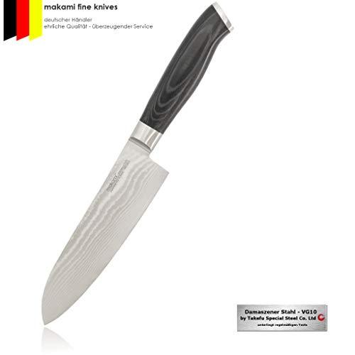 makami Premium Santokumesser aus japanischem Damaststahl VG-10 - asiatisches Küchenmesser und Profi Kochmesser HRC60