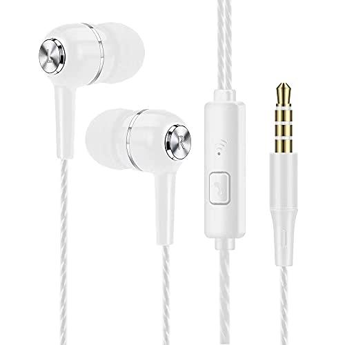 TIMAW Écouteurs, écouteurs Intra-Auriculaires Écouteurs Haute sensibilité Microphone □ Isolateur de Bruit, Haute définition, Son Pur pour iPhone, iPad, Smartphone, lecteurs MP3, etc. (Color : White)