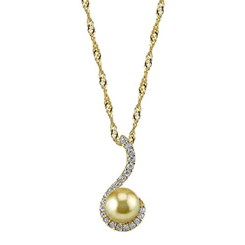 THE PEARL SOURCE 10-11mm Genuine Golden South Sea Cultured Pearl Swirl Pendant Necklace for Women