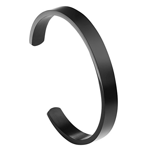 ZystaEdelstahl Armband Männer Frauen Armreif Damen Herren Armspange Silber Gold Schwarz Verstellbar (Schwarz-Damen)