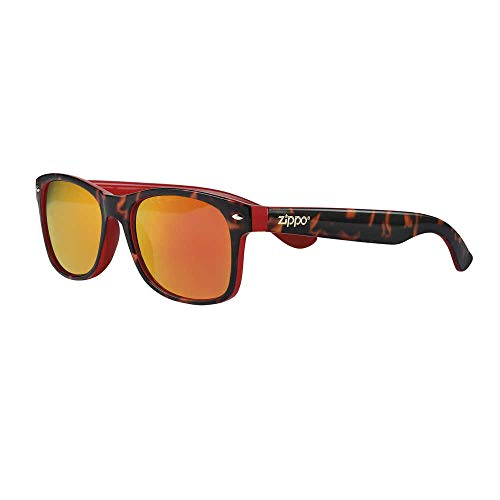 Zippo Gafas de sol 2020 OB66-10 lentes espejadas naranjas con inserciones rojas montura Camo