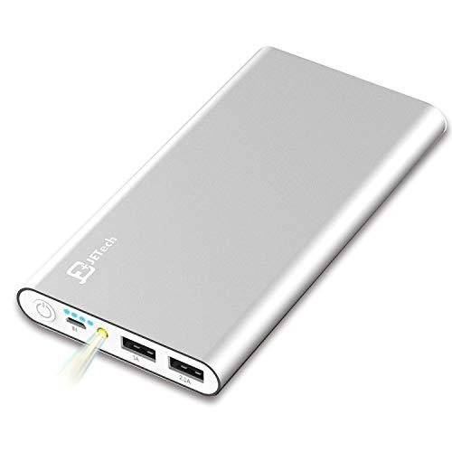 JETech Batería Externa 10000mAh Power Bank (Doble Puerto , Total 5V/3.5A) Cargador de Batería Portátil Battery para iPhone X/8/8 Plus, Móviles Inteligentes y Tabletas, Plateado