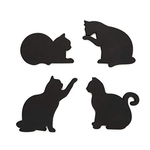 Balvi Sottobicchieri Cat Colore Nero Set di 4 in Forma di Gatto Sono magnetici per metterli sulla Porta del Frigorifero Silicone/plastica 0,5x18x12 cm
