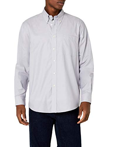 Fruit of the Loom Oxford - Camisa Hombre, Grey (Oxford Grey), Large