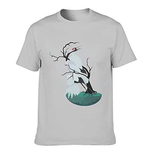 XJJ88 - Camiseta de algodón para hombre, diseño de grulla, color blanco