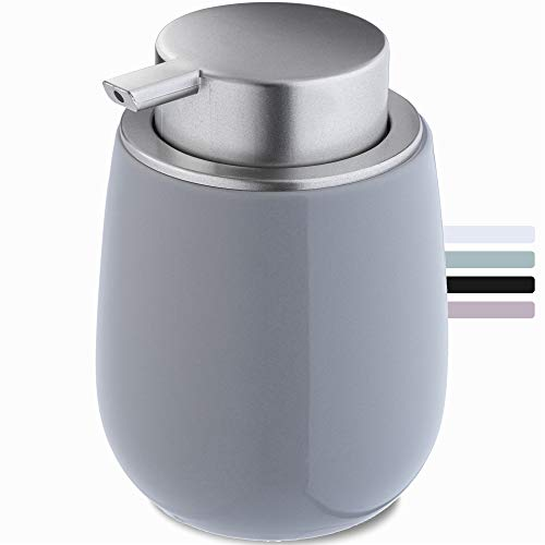 KADAX Seifenspender aus Keramik, Spender mit Pumpe aus Kunststoff, Lotions-Pender für Bad, Küche, 12,5 x 9,5 cm, Flüssigseifen-Spender, Spülmittel-Spender, glänzend, rund (grau)