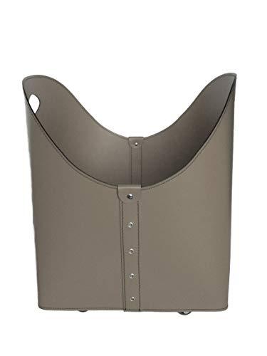 ZESTA: Porte bûches en cuir de couleur Gris Tourterelle, Panier sac à bûches, Chariot à bois, Panier à granulés, Idée cadeau, Made in Italy, Design Firestyle®.