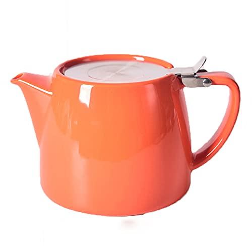 HDHUIXS Tetera cerámica 620ml Tetera de Gran Capacidad con Tapa de Acero Inoxidable y jeringa Ultra Fina para elaboración de té de Hoja Suelta (Naranja)