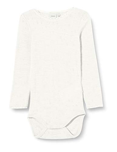 NAME IT NMFWANG Wool Needle LS Body Noos XX, Blanco Nieve, 92 cm para Niñas