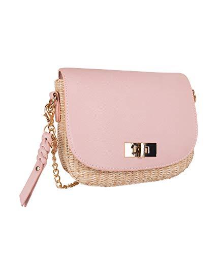 SIX Stylische Damenhandtasche in geflochtener Bast Optik mit rosa Kunstleder und goldenen Details (726-709)
