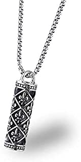 Pattern engraving Cylinder Pendant Necklace Men Stainless steel Jewelry Necklaces