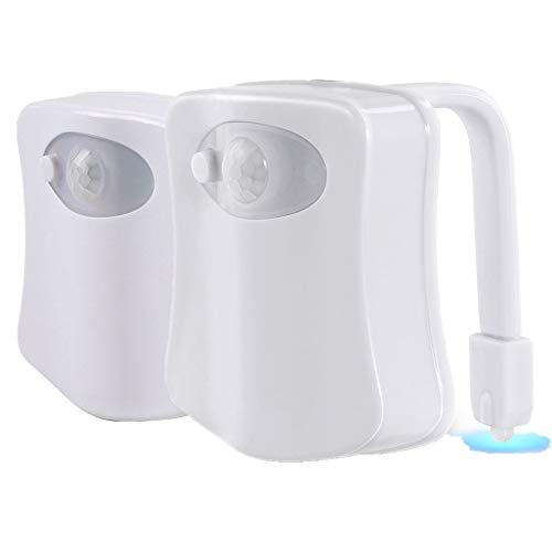 Toilette Licht LED WC Lampe mit Bewegungssensor, 16 Farbenwechsel,Batteriebetriebenes Licht Toilettenlicht Toilettenbeleuchtung Badezimmerlampe (2pack)
