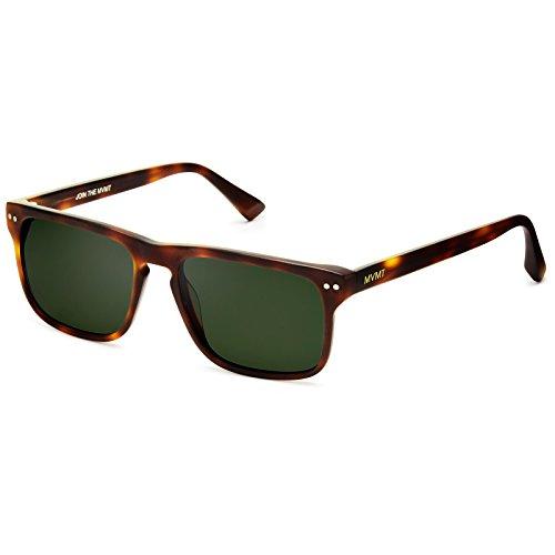MVMT Reveler | Polarized Rectangular Men's Sunglasses | Matte Whiskey Tortoise | 57 mm
