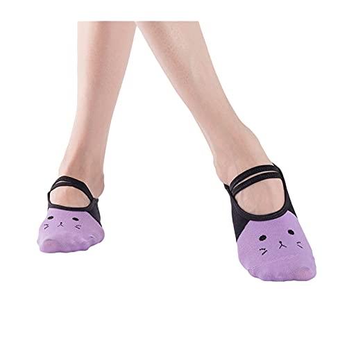 RHoet Womenbandage Sockas de Yoga Calcetines Antideslizantes Amortiguación de secados rápidos Pilates Ballet Calcetines para Hombres y Mujeres Dibujos Animados Gato Imprimir Calcetines