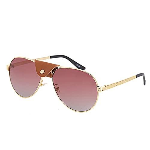 HAIGAFEW Gafas De Sol De Piloto De Cuero para Hombres Mujeres Gafas De Sol Steampunk De Una Pieza Sombras Redondas Uv400 Proteger Los Ojos-Rojo