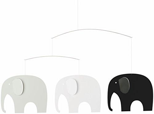 Mobile Elephant party noir/blanc/gris