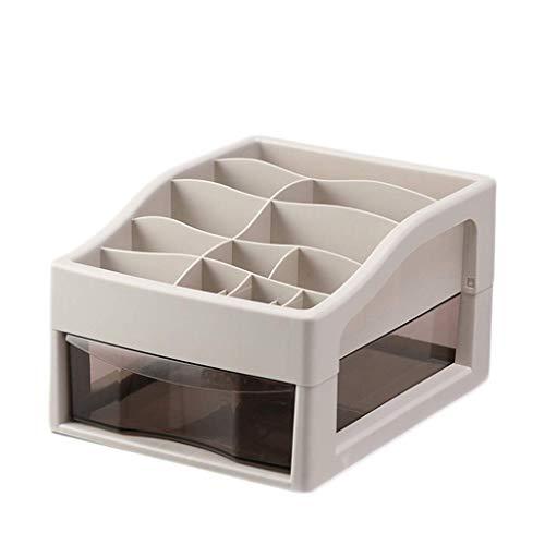 ZTMN Kosmetik Aufbewahrungsbox Kunststoff Einfache Schublade Typ Lippenstift Schmuck Hautpflegeprodukte Aufbewahrungsbox (Farbe: GRAU, Größe: 34 * 26,5 * 29 cm)