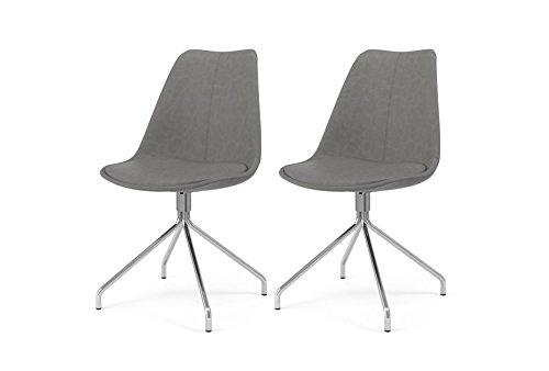 Tenzo 3239-263 Designer Lot de 2 chaises, Gris, Coque en polypropylène garnie de mousse, recouverte de polyuréthane look vintage. Pieds en acier chromé, 83,5 x 48,5 x 51 cm (HxLxP)
