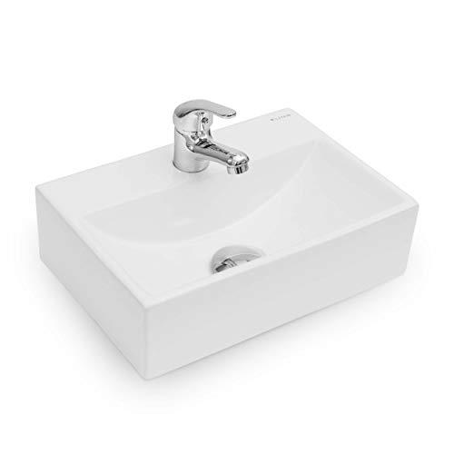 Vilstein Waschbecken, Gäste WC, Hänge- oder Aufsatzwaschbecken, Keramik, eckig, klein, 36,5cm x 25,5cm x 10,5cm, weiß