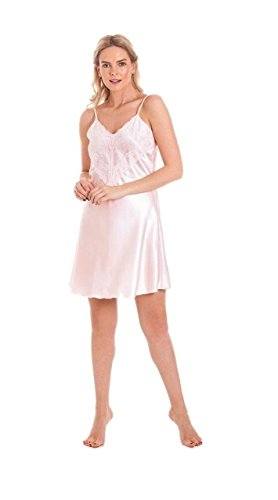armona Damen Satin Negligé Spitze Negligée Nachthemd Nachtkleid Größen 10-28 - Rosa, 54-56