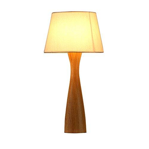 uus Lampe de table solide bois tissu Led chambre lampe de chevet E27 ampoule Base 27 * 54Cm lumière chaude (économie d'énergie A +) (Couleur : Warm light27*54cm)