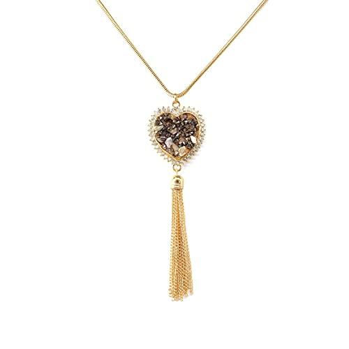 Yixikejiyouxian Collar, Joyas Colgante De Aleación En Forma De Corazón De Piedra Triturada Collar con Diamantes para Otoño E Invierno Cadena De Suéter De Borla Larga - Oro 85 + 5Cm