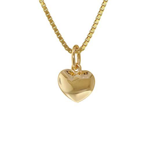 trendor Kinder Herz-Anhänger Gold 585 mit vergoldeter Silberkette zauberhafter Goldschmuck für Kids, dieses Schmuckstück ist eine tolle Geschenkidee, 75394
