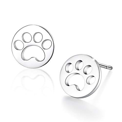 Pendientes Simplove con huella de perro, plata de ley 925, pequeños círculos, para ahuyentar a tu mascota, perro, gato, pata