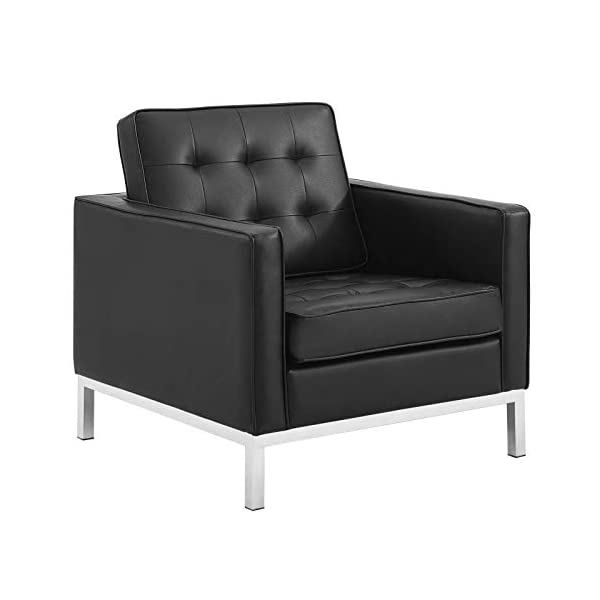 ModwayLoft Tufted Large Upholstered Faux Leather Couch 2