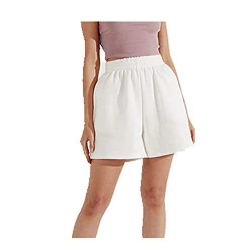 Pantalones cortos de color sólido para mujer cintura alta estilo casual pantalones cortos inclinados