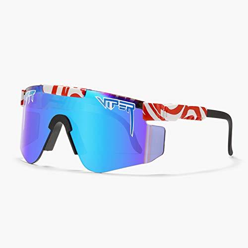 Tletiy Red White Marks Gafas De Sol Polarizadas Pit-Viper para Exteriores con Montura Tr90 Polarizada De Doble Ancho con Espejo UV400 Gafas Unisex con Protección UV para Deportes Y Running