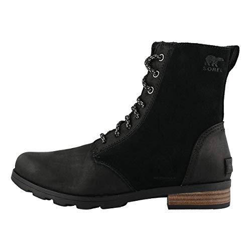 Sorel Women's Emelie Short Lace Boot - Light Rain and Heavy Rain - Waterproof - Black - Size 6.5