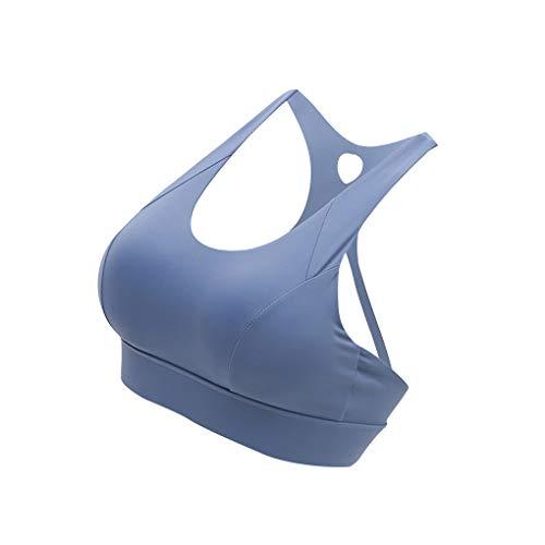 Home Dames's Sports BH Push up vrouwelijke Training van de Gymnastiek Tops Verstelbare, L, Grey Blue