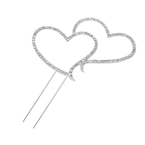 Foxnovo Zarte funkelnde Crystal Strasssteine Double Love Heart Shape Hochzeitstorte Topper Dekoration - Größe L (Silber)