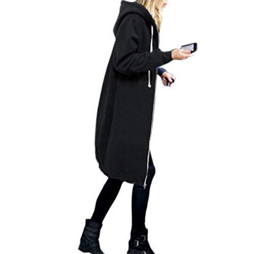 QIYUN.Z Femmes Casual Zipper Hoodies Sweatshirt Poches Solide À Capuche Long Survêtement Veste (Noir-L)