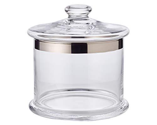 EDZARD Bonboniere Erik, mundgeblasenes Kristallglas mit Platinrand, Höhe 16 cm, Nicht für die Spülmaschine, Durchmesser 15 cm