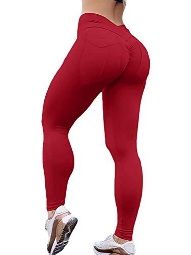 ORANDESIGNE Mallas de Deporte de Mujer Leggins Pantalon Deporte Yoga Leggings Mujer Fitness Suaves Elásticos Cintura Alta para Reducir Vientre Vino Rojo XS