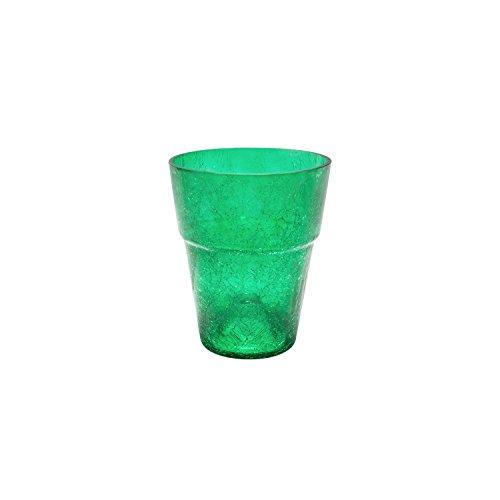 Portavaso in vetro crackle serie Orchid bordato, altezza 16,5 cm, colore: verde scuro trasparente