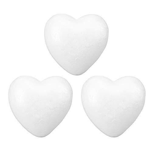 PRETYZOOM DIY Bolas de Poliestireno con Forma de Corazón para Manualidades Adorno de Boda para Craft Espumas Florales Decoracion para Boda 3pcs 10cm