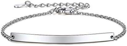 ChicSilver Women Inspirational Bar Bracelet 925 Sterling Silver Dainty Simple Handmade Link product image