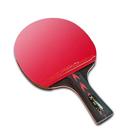PPuujia Juego de raqueta de tenis de mesa Star con mango corto y largo de goma, doble harina, con cubierta (color 5 estrellas 2 corta)