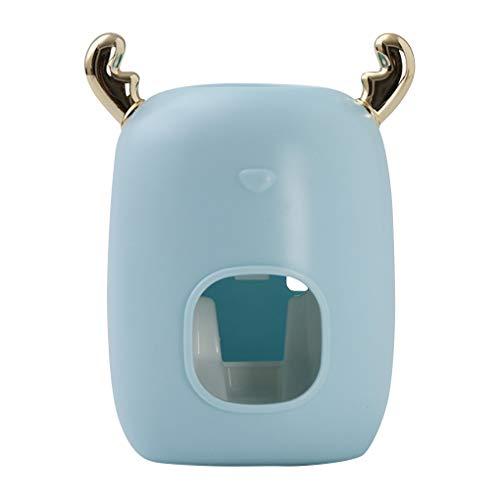 Pasta de dientes exprimidor montado en la pared dispensador de pasta de dientes de plástico que cuelga Montado tubo de crema dental exprimidor exprimidor de pared para cuarto de baño, azul