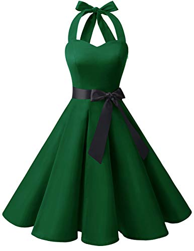 bridesmay 1950er Retro Rockabilly Neckholder Cocktail Abendkleid Petticoat Faltenrock Green 2XL