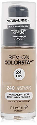 REVLON ColorStay Makeup for Normal/Dry Skin SPF 20, Longwear Liquid Foundation, with Medium-Full Coverage, Natural Finish, Oil Free, 240 Medium Beige, 1.0 oz